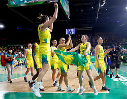 Australia celebrate winning gold in the Women's Gold Medal Game at the Gold Coast Convention and Exhibition Centre during day ten of the 2018 Commonwealth Games in the Gold Coast, Australia.