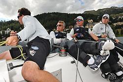 Ian Williams and his Team GAC Pindar crew in action at the St. Moritz Match Race. Photo: Chris Davies/WMRT