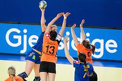 10-12-2014 CRO: EHF EK Nederland - Zweden, Varazdin<br /> Jenny Alm #29 of Sweden and Yvette Broch #13 of Netherlands during handball match between Netherlands and Sweden at 11th EHF European Women's Handball Championship Hungary-Croatia 2014<br /> *** USE NETHERLANDS ONLY ***