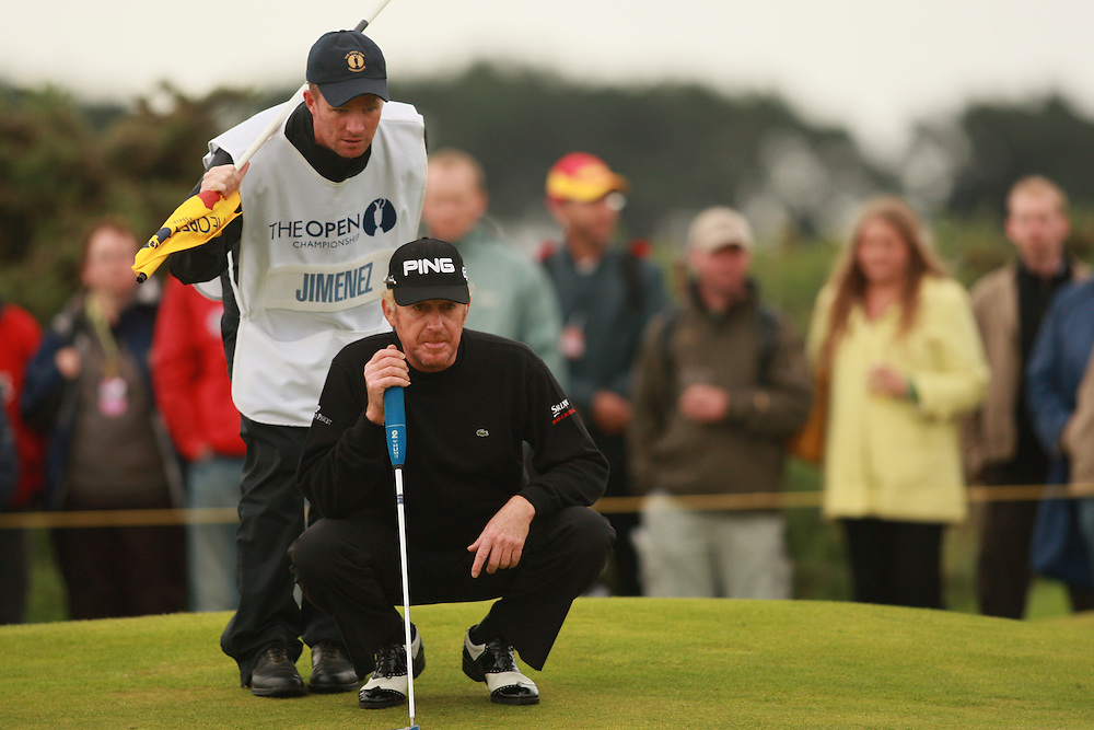 CARNOUSTIE, SCOTLAND - JULY 21: Miguel Angel Jimenez lines up a putt during the third round of the 136th Open Championship in Carnoustie, Scotland at Carnoustie Golf Links on Saturday, July 21, 2007. (Photo by Darren Carroll/Getty Images) *** LOCAL CAPTION *** Miguel Angel Jimenez