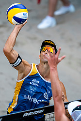 Pablo Herrera ESP in action during the third day of the beach volleyball event King of the Court at Jaarbeursplein on September 11, 2020 in Utrecht.