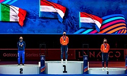 Suzanne Schulting of Netherlands gold medal, Adrianna Fontana of Italy silver and Selma Poutsma of Netherlands bronze medal on 500 meter during ceremony ISU World Short Track speed skating Championships on March 06, 2021 in Dordrecht