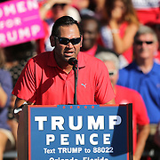 Retired Major League Baseball player Johnny Damon speaks at Republican presidential candidate Donald Trump's event at the Central Florida Fairgrounds in Orlando, Florida USA  02 Nov 2016