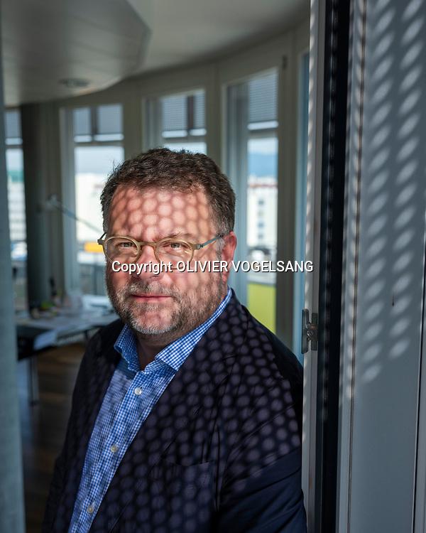 Genève, août 2019. Pierre-Alain L'Hôte. Président de la SSE Genève, faîtière des employeurs du gros oeuvre. PRELCO. © Olivier Vogelsang