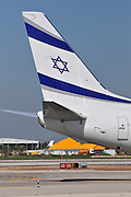 Israel, Ben-Gurion international Airport El-Al Boeing 737-85P passenger jet ready for takeoff