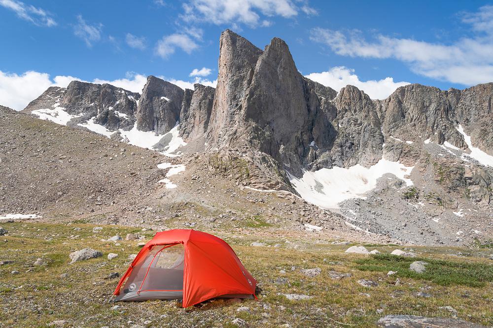 Backcountry camp below Pronghorn Peak. Bridger Wilderness. Wind River Range, Wyoming