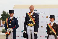 Podium BK seniors<br /> 1. Jeroen Devroe<br /> 2. Claudia Fassaert<br /> 3. Fanny Verliefden<br /> Flanders Dressage Event Hulsterlo 2012<br /> © Dirk Caremans