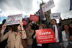 © Licensed to London News Pictures. 12/09/2015. London, UK. Supporters of Yvette Cooper outside the event.. The announcement of the new leader of the Labour Party at the QEII centre in Westminster, London on September 12, 2015. Former leader ED Miliband resigned after a heavy defeat at the last election. Photo credit: Ben Cawthra/LNP