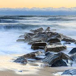 High surf after a winter storm on Plum Island in Newburyport, Massachusetts.