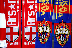 A general view of Arsenal and CSKA Moscow scarfs for sale outside of the stadium before the match begins
