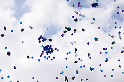 Balloons released outside Alder Hey Children's Hospital in Liverpool, following the death on Saturday morning of 23-month-old Alfie Evans, who was being treated at the hospital.