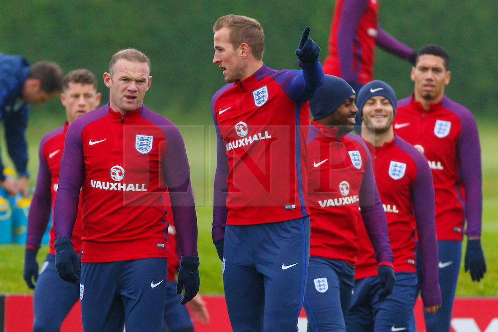 © Licensed to London News Pictures. 01/06/2016. London, UK. England's WAYNE ROONEY and HARRY KANE speaking whilst England team training at Watford Training Ground on Wednesday, 1 June 2016, ahead of the Euro 2016 in France. Photo credit: Tolga Akmen/LNP