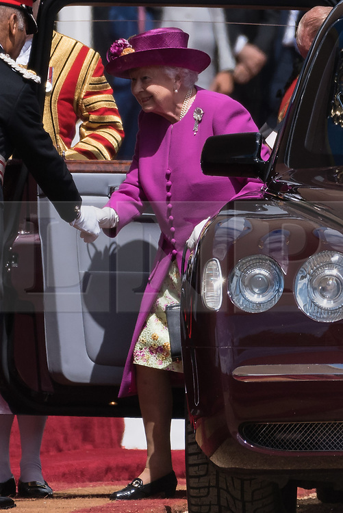 © Licensed to London News Pictures. 12/07/2017. London, UK. QUEEN ELIZABETH II arrives for the Ceremonial Welcome at Horse Guards Parade for His Majesty King Felipe VI of Spain and Her Majesty Queen Letizia during a three day State visit. Photo credit: Ray Tang/LNP