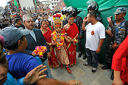 September 15, 2016 - Kathmandu, NE, Nepal - God 'Bhairab' walks towards chariot for the chariot pulling festival on the third day of Indra Jatra Festival celebrated at Basantapur Durbar Square, Kathmandu, Nepal on Thursday, September 15, 2016. Devotees celebrated the god of rain 'Indra' for 8 days in Kathmandu. (Credit Image: © Narayan Maharjan/NurPhoto via ZUMA Press)