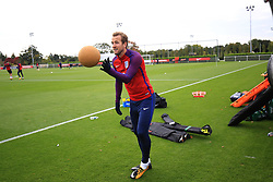 4 October 2017 -  2018 FIFA World Cup Qualifying (Group F) - England Training - Harry Kane of England throws a medicine ball during training - Photo: Marc Atkins/Offside