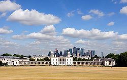 © Licensed to London News Pictures. 01/08/2018<br /> Greenwich, UK. Burnt grounds and blue sky over Greenwich Park in London, as a heatwave is set to return to the UK. Photo credit: Grant Falvey/LNP