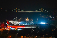 General view outside of Ashton Gate Stadium home of Bristol City Football Club, illuminated with floodlights with the iconic Clifton Suspension Bridge designed by Brunel behind it after the The FA Cup fourth round match between Bristol City and Bolton Wanderers at Ashton Gate, Bristol, England on 25 January 2019.