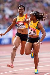 12-08-2017 IAAF World Championships Athletics day 9, London<br /> Natasha Morrison JAM, Jura Levy JAM