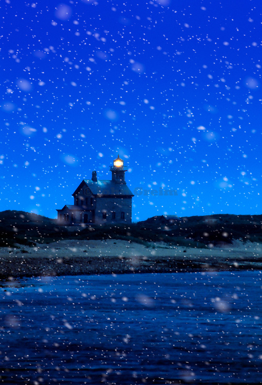 North Light Lighthouse, Block Island, Rhode Island, USA.