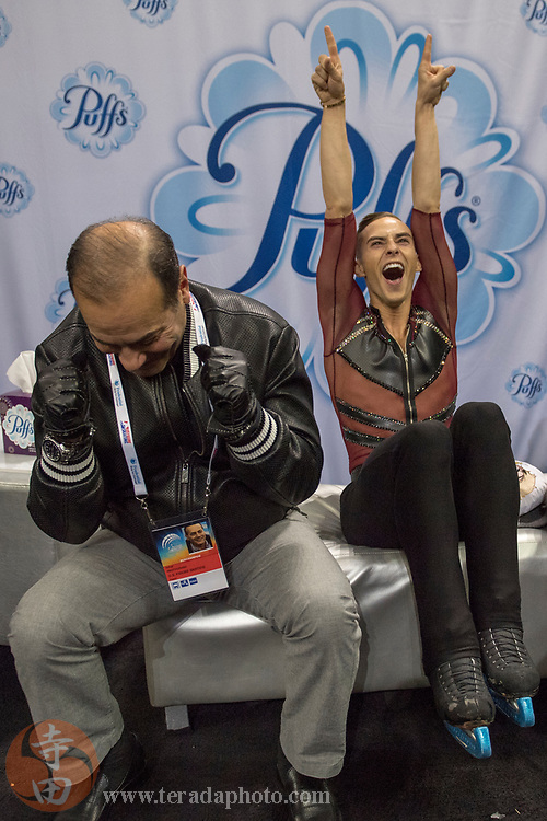 January 4, 2018; San Jose, CA, USA; Adam Rippon reacts in kiss and cry in the mens short program during the 2018 U.S. Figure Skating Championships at SAP Center.