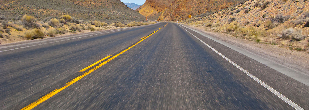 US 50 passes through a pass in the Desatoya Range of central Nevada along the loneliest road in America panorama