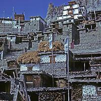 NEPAL, HIMALAYA. Tibetan Buddhist monastery above Braga Village in Manang Valley, north of Annapurna massif.