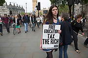 London, UK. Wednesday 27th May 2015. Students demonstrate in Westminster against Tory Party cuts. The protest was focussed on a number of subjects including spending cuts but generally was a mark of displeasure and concern as to what the Conservatives will do while in power.