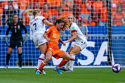 07-07-2019 FRA: Final USA - Netherlands, Lyon<br /> FIFA Women's World Cup France final match between United States of America and Netherlands at Parc Olympique Lyonnais. USA won 2-0 / Abby Dahlkemper #7 of the United States, Daniëlle van de Donk #10 of the Netherlands, Julie Ertz #8 of the United States