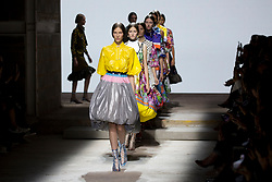 Models on the catwalk during the Mary Katrantzou London Fashion Week SS18 show held at Topshop Showspace, London.