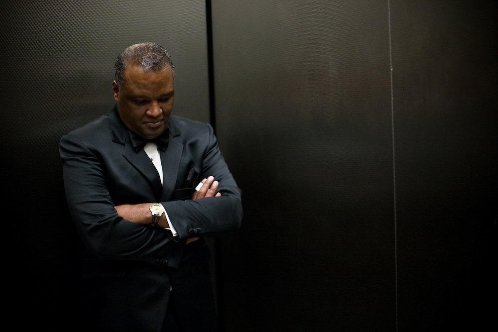 NATIONAL HARBOR, MD - DECEMBER 6: Prince George's County Executive-Elect Rushern Baker III takes a moment to rest while traveling in an elevator during the inaugural ball at Gaylord National Convention on December 6, 2010 in National Harbor, Maryland. (Photo by Michael Starghill, Jr.)