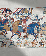 Bayeux Tapestry scene 55:  Duke William raises his visor to show that a rumour he was killed is un-true. .<br /> <br /> If you prefer you can also buy from our ALAMY PHOTO LIBRARY  Collection visit : https://www.alamy.com/portfolio/paul-williams-funkystock/bayeux-tapestry-medieval-art.html  if you know the scene number you want enter BXY followed bt the scene no into the SEARCH WITHIN GALLERY box  i.e BYX 22 for scene 22)<br /> <br />  Visit our MEDIEVAL ART PHOTO COLLECTIONS for more   photos  to download or buy as prints https://funkystock.photoshelter.com/gallery-collection/Medieval-Middle-Ages-Art-Artefacts-Antiquities-Pictures-Images-of/C0000YpKXiAHnG2k