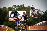#4 (RENCUREL Jeremy) FRA [Inspyre] and #373 (BLANC Renaud) SUI [Royalty, Lead] at Round 7 of the 2019 UCI BMX Supercross World Cup in Rock Hill, USA