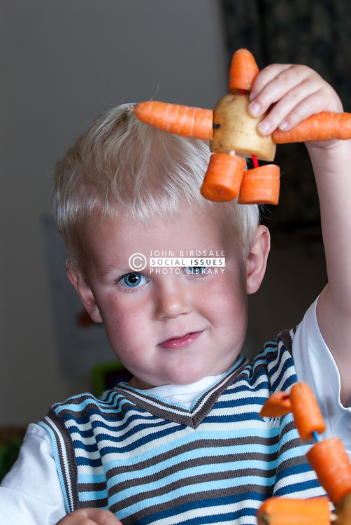 Young child at a day nursery UK