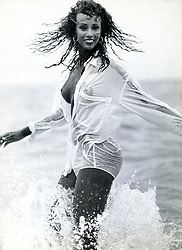 Iman for Photo France Magazine. Photographed in Malibu, California. Black & White Tri-X at 400 ISO<br /> Photographer ©Amyn Nasser