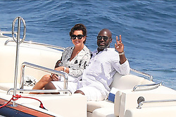 Monte-Carlo, Monaco 16th August 2019<br /> Kris Jenner and Corey Gamble going back to their yachtafter shopping in Monaco<br /> ABACAPRESS.COM