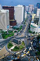 Traffic around Namdaemun (The Great South Gate), Seoul, South Korea