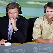 PALM DESERT, CA- January 22, 2006:  ABC Sports analysts Nick Faldo and Paul Azinger work at the Bob Hope Chrysler Classic in Palm Desert, California on January 22, 2006.  (Photo by Todd Bigelow/Aurora)