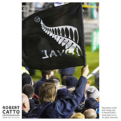 All Blacks Fans at the British & Irish Lions v. Auckland Blues Match at Eden Park, Auckland, New Zealand.<br />