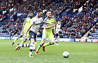 Preston North End's Alan Browne drives into the box under pressure from Derby County's Alex Pearce<br /> <br /> Photographer Rich Linley/CameraSport<br /> <br /> The EFL Sky Bet Championship - Preston North End v Derby County - Monday 2nd April 2018 - Deepdale Stadium - Preston<br /> <br /> World Copyright © 2018 CameraSport. All rights reserved. 43 Linden Ave. Countesthorpe. Leicester. England. LE8 5PG - Tel: +44 (0) 116 277 4147 - admin@camerasport.com - www.camerasport.com