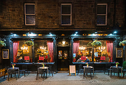 View of Rose and Crown pub at night on Rose Street in Edinburgh, Scotland, United Kingdom