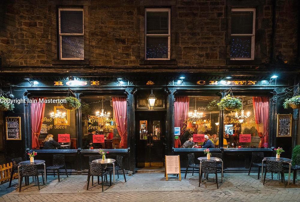 View of Rose and Crown pub at night on Rose Street in Edinburgh, Scotland, United Kingdom