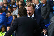 Everton Manager Ronald Koeman and Chelsea Manager Antonio Conte hake hands prior to kick off. Premier league match, Everton v Chelsea at Goodison Park in Liverpool, Merseyside on Sunday 30th April 2017.<br /> pic by Chris Stading, Andrew Orchard sports photography.