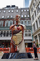 "© Licensed to London News Pictures. 24/06/2017. London, UK. A member of the public views a 21 feet tall, 2.5 tonne bronze sculpture called ""Temple"" by Damien Hirst that has been unveiled near the Lloyds Building in the City of London.  The artwork will be on display as part of ""Sculpture in the City"", a festival of sculpture in the City of London showing works by leading artists. Photo credit : Stephen Chung/LNP"