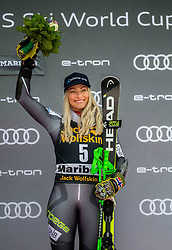 Third placed MOWINCKEL Ragnhild of Norway celebrates during Flower cermony after the 6th Ladies'  GiantSlalom at 55th Golden Fox - Maribor of Audi FIS Ski World Cup 2018/19, on February 1, 2019 in Pohorje, Maribor, Slovenia. Photo by Vid Ponikvar / Sportida