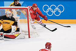PYEONGCHANG, Feb. 25, 2018  Alexander Barabanov (R) of Olympic athletes from Russia drives the puck during men's ice hockey final against Germany at Gangneung Hockey Centre, in Gangneung, South Korea, Feb. 25, 2018. The Olympic Athletes from Russia team defeated Germany 4:3 and won the gold medal. (Credit Image: © Wu Zhuang/Xinhua via ZUMA Wire)