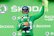 CHATEAUROUX, FRANCE - July 01 : CAVENDISH Mark (GBR) of DECEUNINCK - QUICK-STEP pictured during the podium ceremony in the green jersey after during stage 6 of the 108th edition of the 2021 Tour de France cycling race, a stage of 160,6 kms between Tours and Chateauroux on July 1, 2021 in Chateauroux, France, 1/07/2021