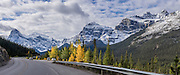 Mt. Chephren (left) and Kaufmann Peaks rise above Mistaya River Valley along the Icefields Parkway in Banff National Park, the Canadian Rockies, Alberta, Canada. Banff NP is Canada's oldest national park, established in 1885 in the Rocky Mountains, Alberta. Banff is part of the Canadian Rocky Mountain Parks World Heritage Site declared by UNESCO in 1984. This panorama was stitched from 2 overlapping images.