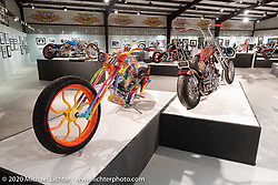 Rick Fairless Bettie, a Psychedelic Eclectic custom with a 121 ci TP engine in Rick's own Curved Rigid frame beside Josh Soto's Nostalgia, in the Heavy Mettle - Motorcycles and Art with Moxie exhibition at the Sturgis Buffalo Chip. This is the 2020 iteration of the annual Motorcycles as Art series curated and produced by Michael Lichter. Sturgis, SD, USA. Friday, August 7, 2020. Photography ©2020 Michael Lichter.