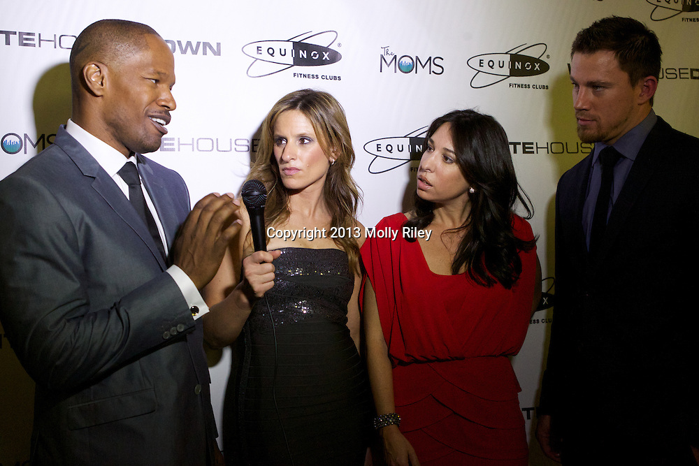 """Channing Tatum and Jamie Foxx chat with """"The Moms"""" at """"Mamarazzi"""" screening of White House Down with ?The Mom's? Denise Albert and Melissa Musen in Georgetown sponsored by Equinox on June 21, 2013.<br /> Photo by Molly Riley/The Mom's"""