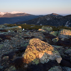 View of Mt. Lafayette from the Appalachian Trail on Mt. Guyot in New Hampshire's White Mountains.  The Twinway.  Early spring.  Sunrise.